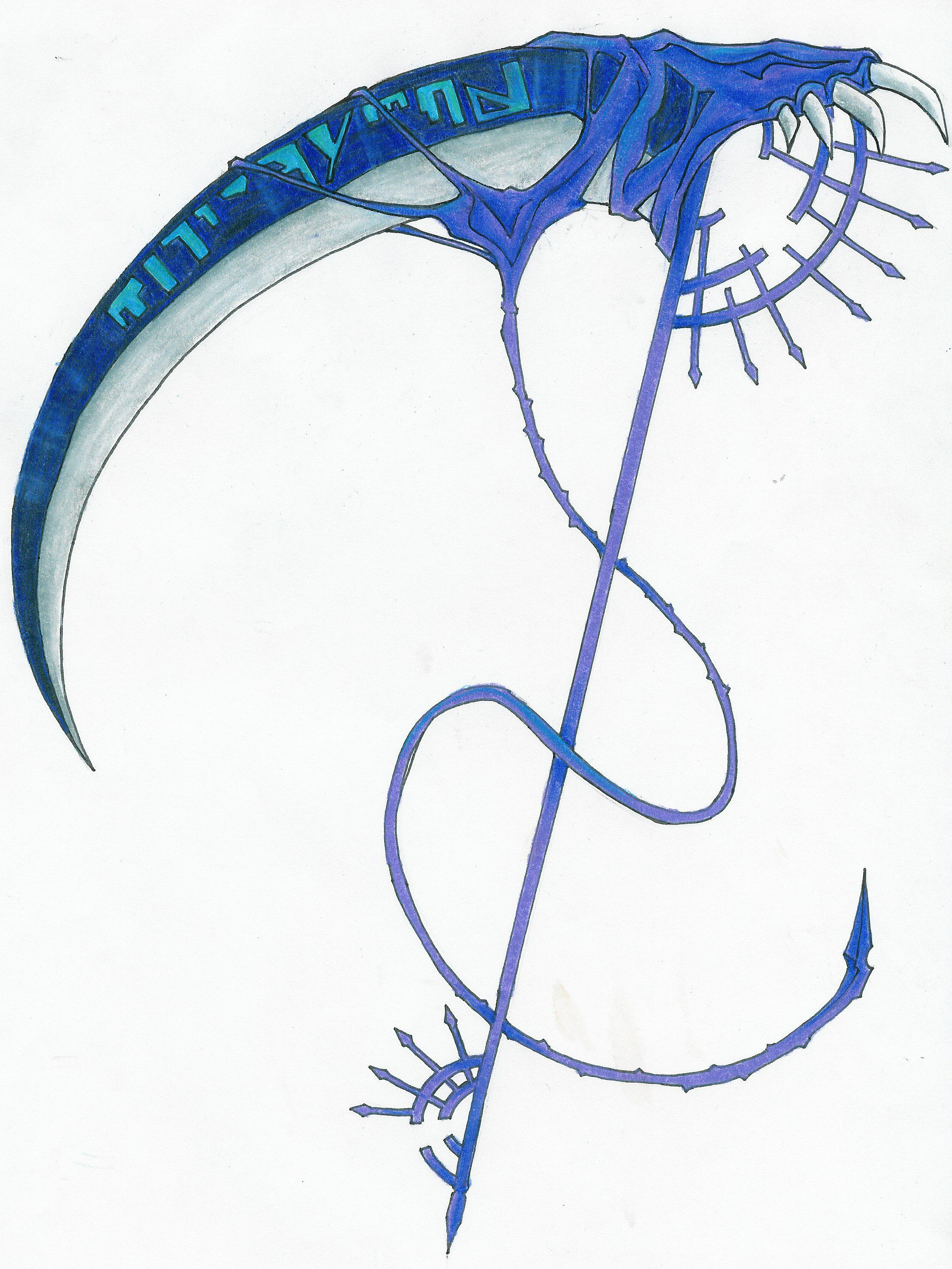 Drawn scythe headed [sign TRACES Weapon: thread] CHAOS