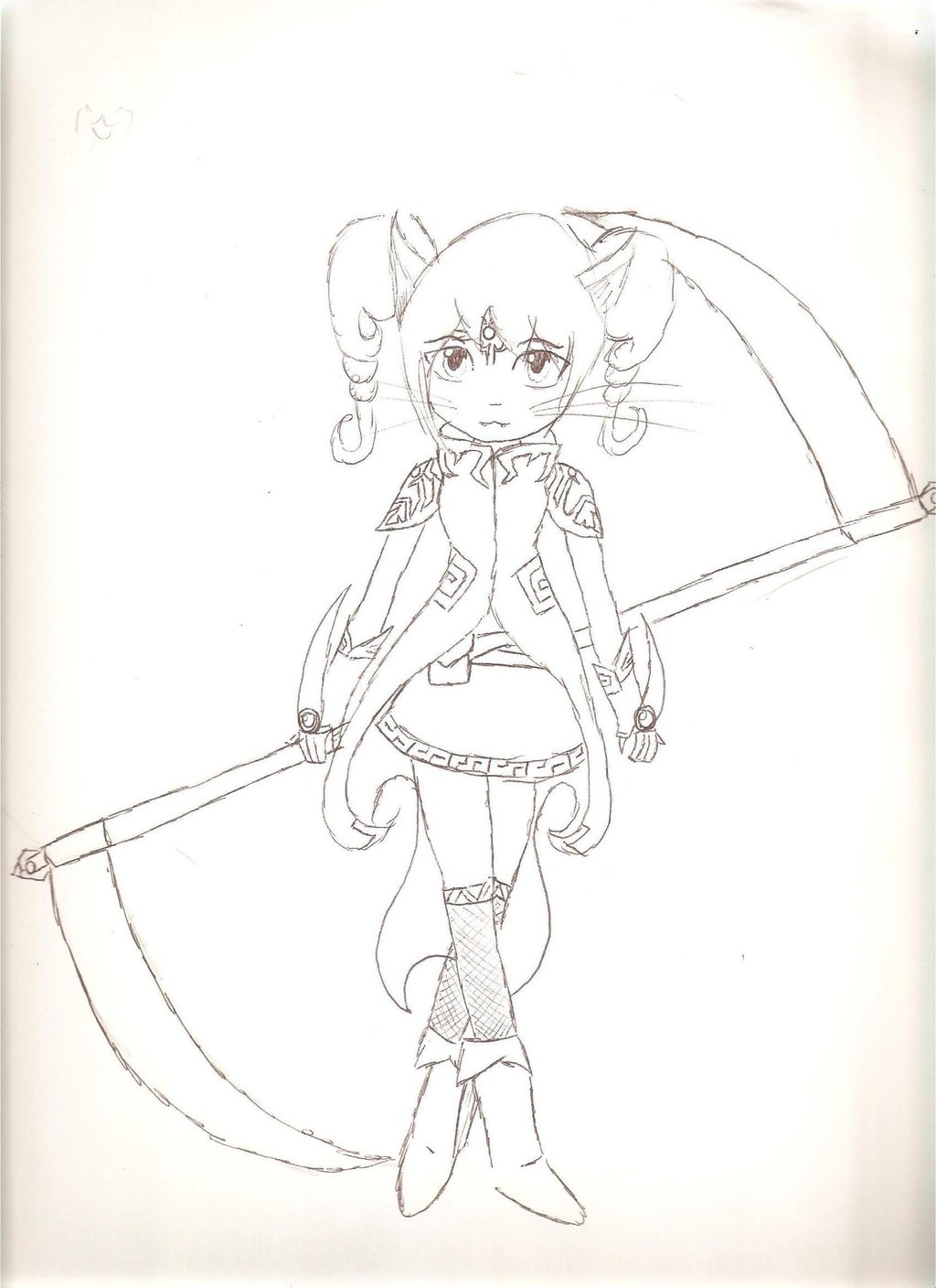 Drawn scythe headed (lineart) with scythe double