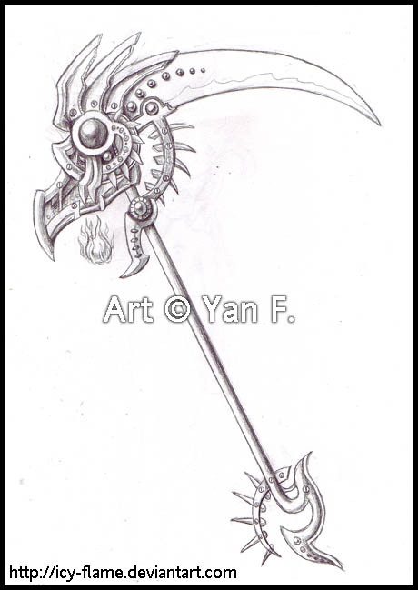 Drawn scythe ice Flame on Weapons Flame Design