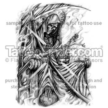 Drawn scythe large Grim Reaper Hot Tatting design