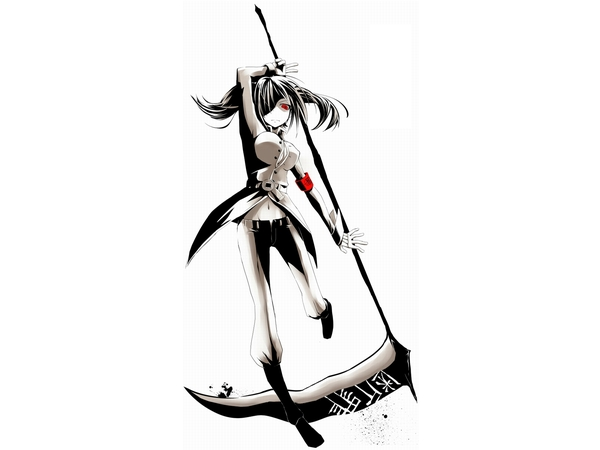 Drawn scythe moon Black Red Weapons red Hat