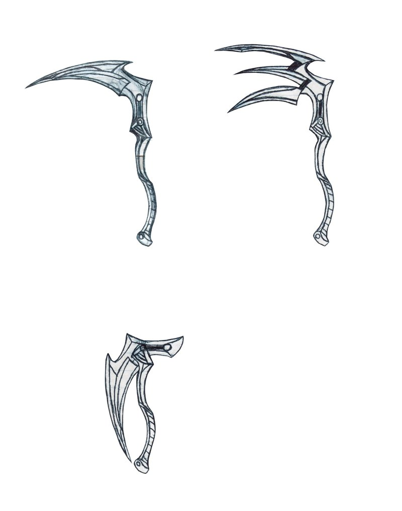 Drawn scythe one handed Three  by three forces