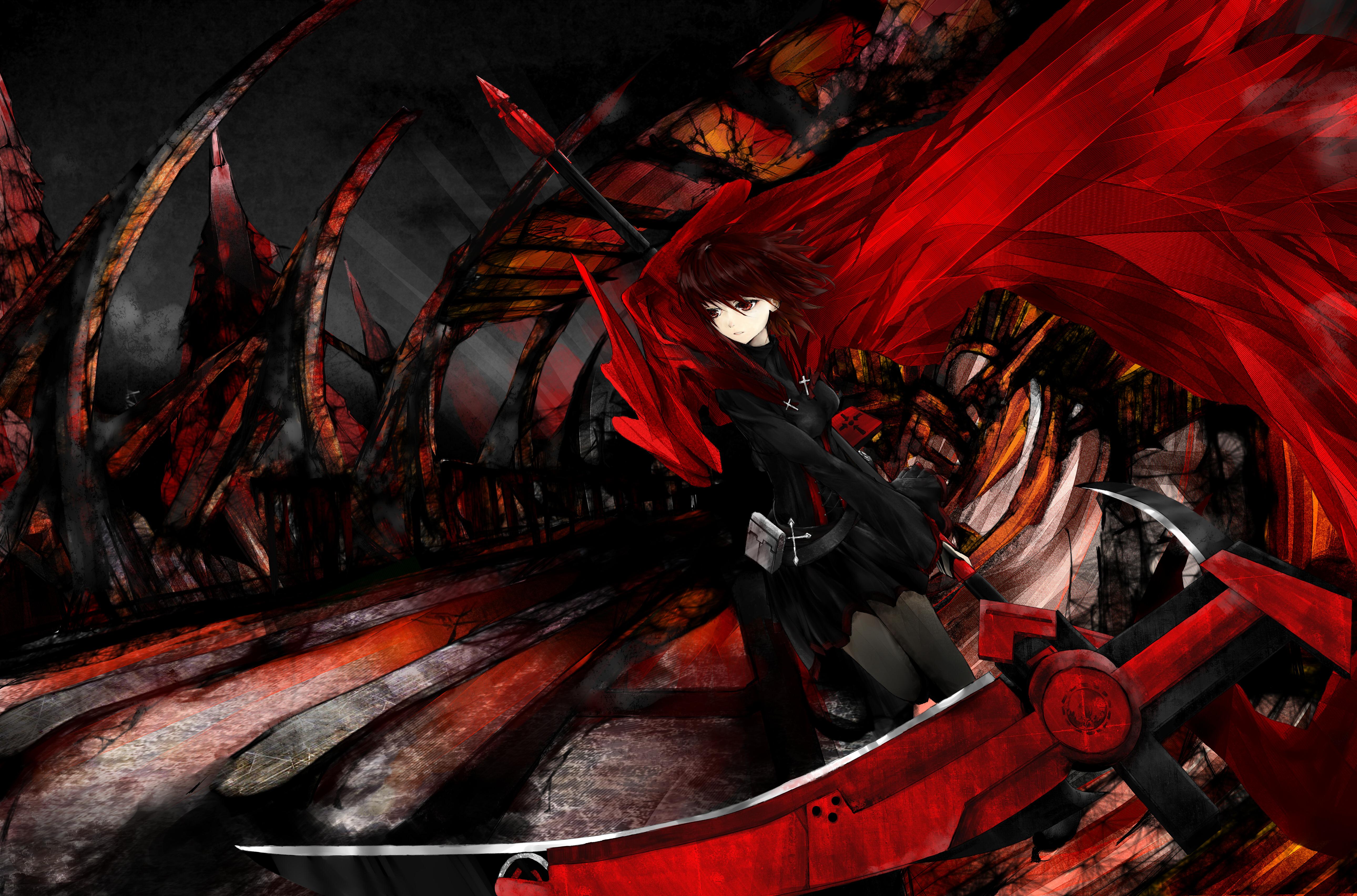 Drawn scythe red (rwby) by drawn rose Information
