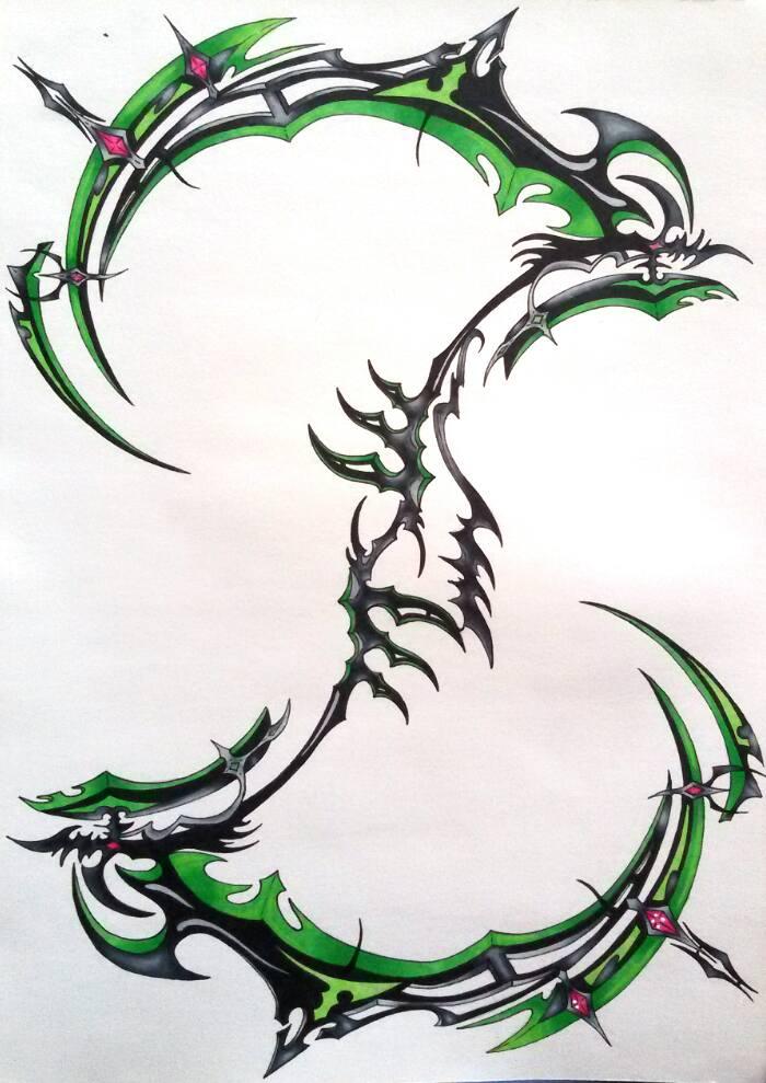 Drawn scythe sci fi Scythe Yu Seraph Weapon Ominae666