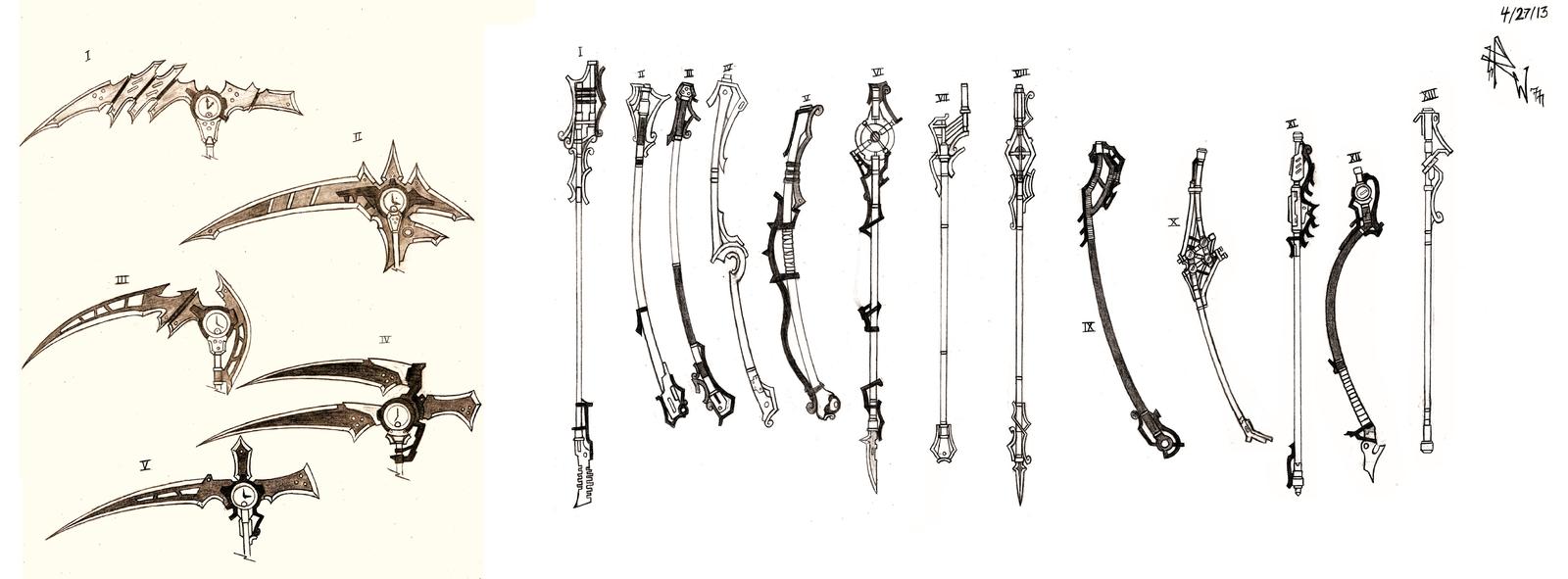 Drawn scythe sci fi Pole Handle 59 fi Armory
