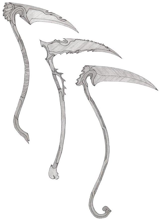 Drawn scythe sickle Weapon Davids Joshua Scythe by