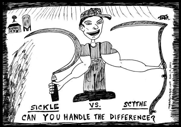 Drawn scythe sickle Vs Harari Scythe Yasha Yasha