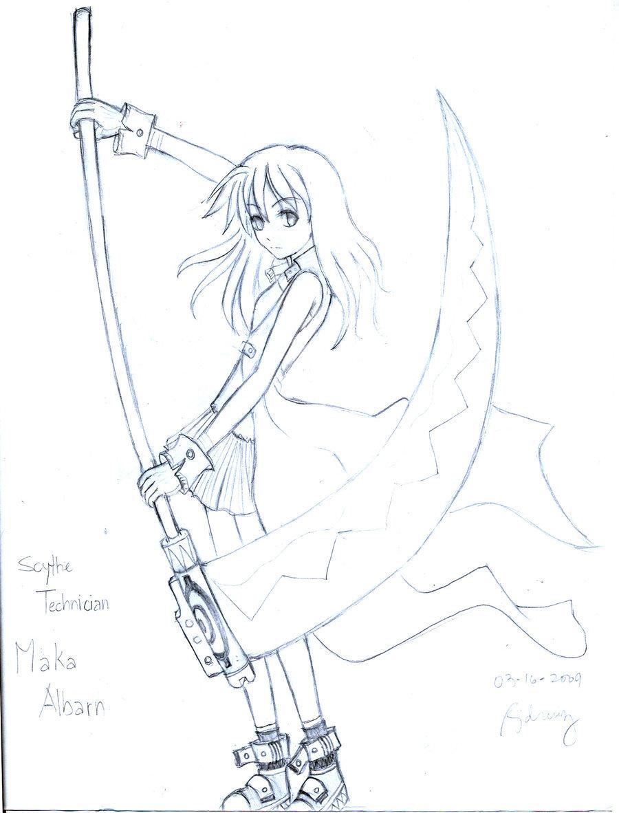 Drawn scythe silver Scythe on E Maka by