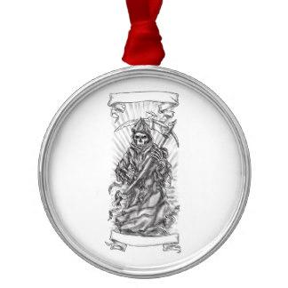 Drawn scythe silver Scythe Ornaments Reaper Tattoo Metal