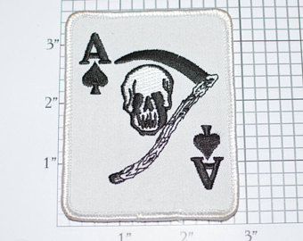 Drawn scythe spade Embroidered Reaper Patch Scythe Ace
