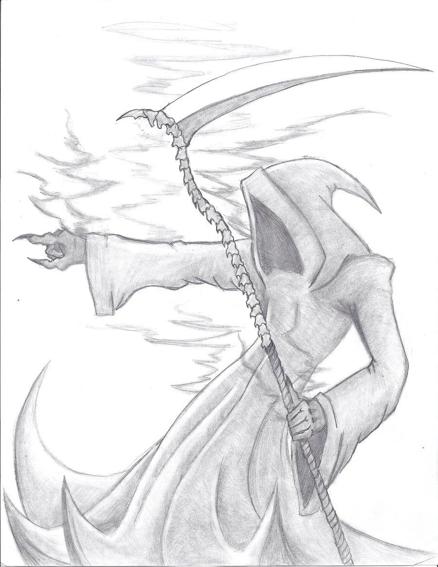 Drawn scythe spine By ZabithWolf column grip scythe