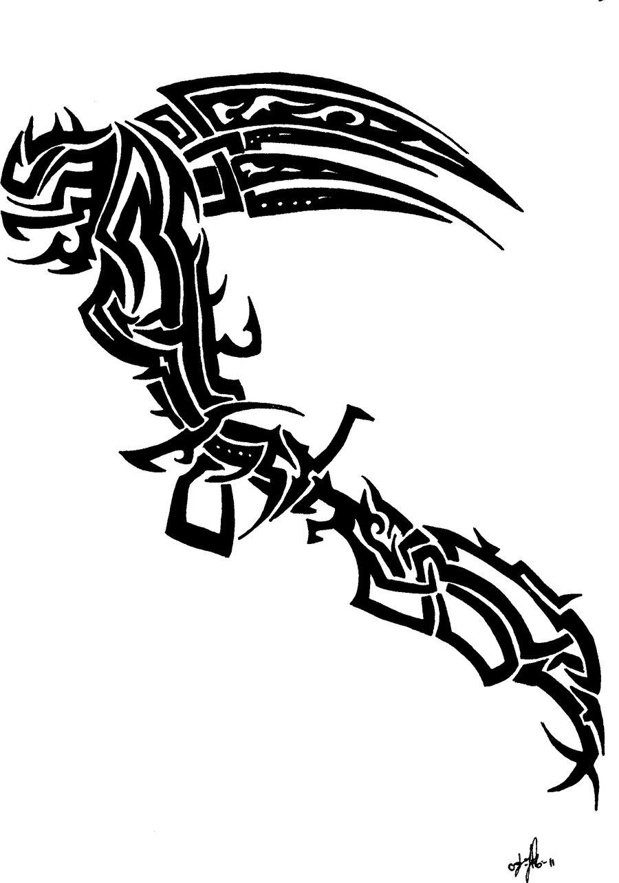 Drawn scythe tribal By by jakelagman777 jakelagman777 Scythe