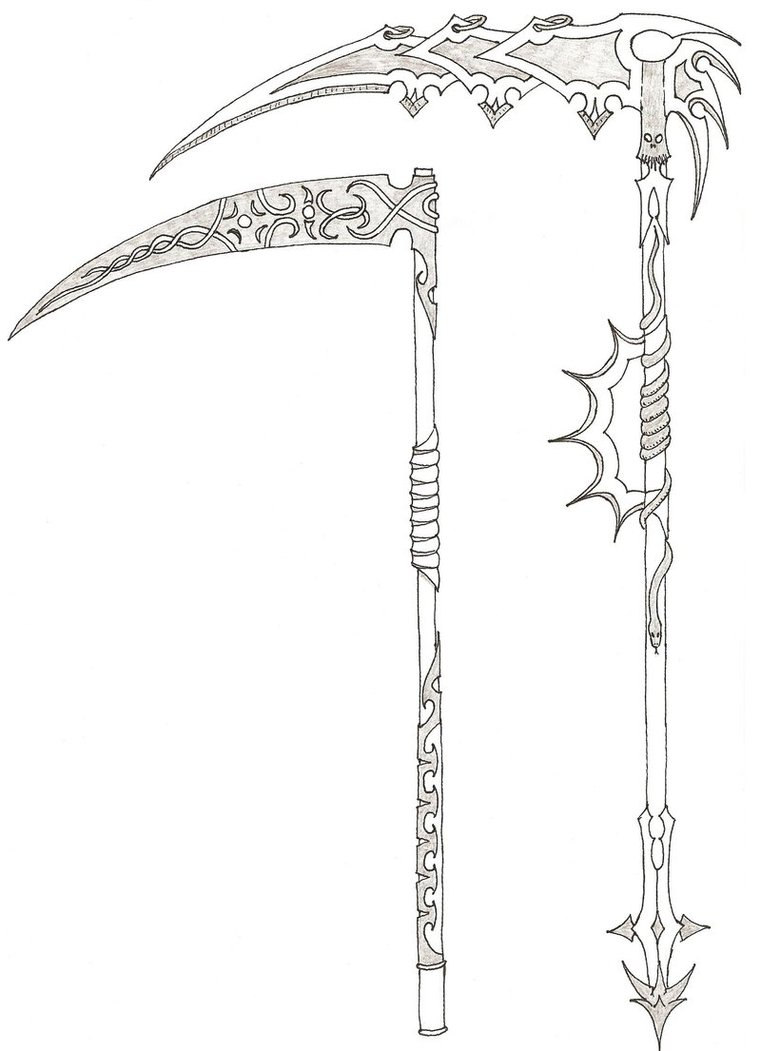 Drawn scythe tribal By by ghostontheshell scythes ghostontheshell