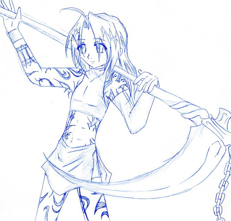 Drawn scythe wicked Scythe sketch rakuen kuro sketch