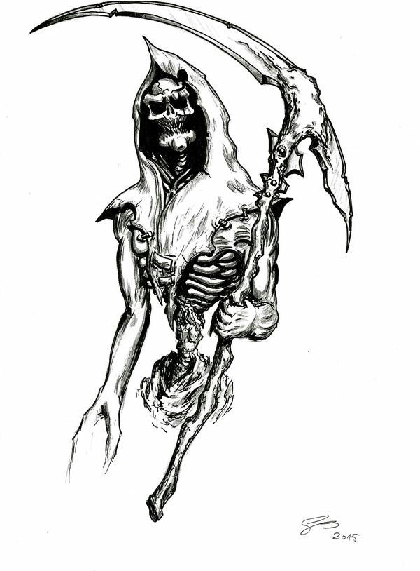 Drawn scythe wolf Ideas Ideas Drawing Reaper Grim