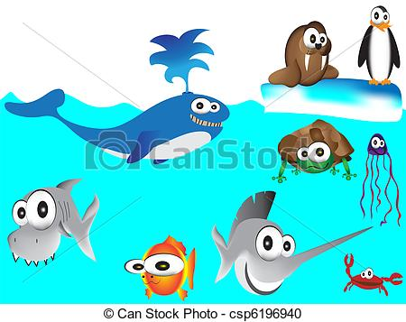 Drawn sea Sea hand Vector cartoon of