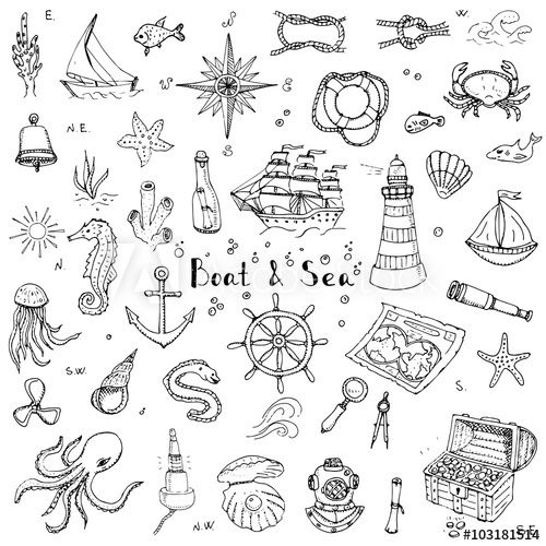 Drawn ocean ocean life Boat concept Sea elements drawing