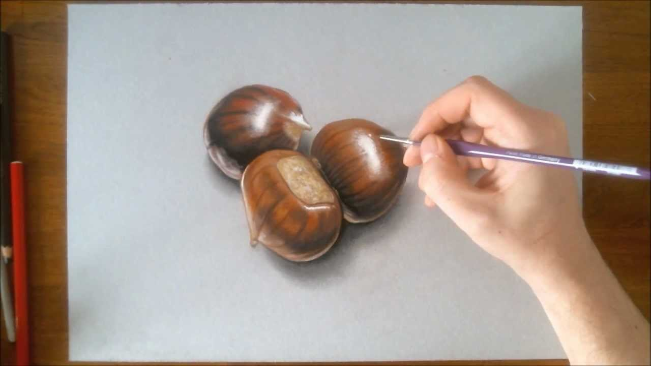 Drawn sea life hyper realistic 3D Speed Chestnuts YouTube Drawing