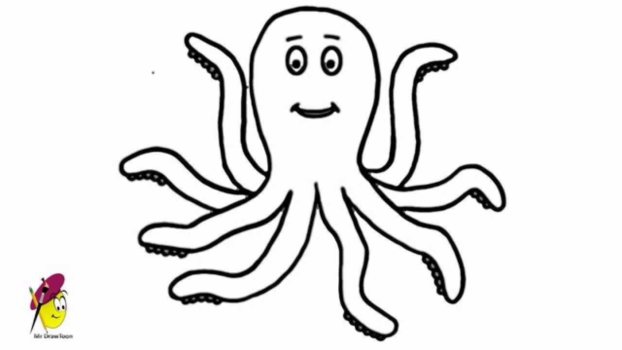 Drawn sea life octopus Octopus Animals Easy draw Happy