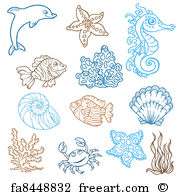 Drawn sea life printable In Hand Marine of art
