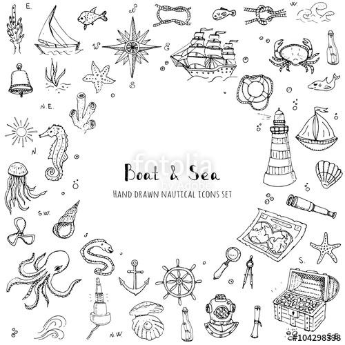 Drawn sea life sea life And set Hand Ship Nautical