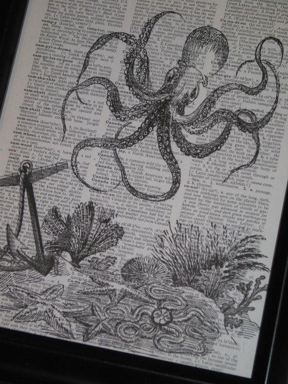 Drawn sea life sea life 10 Print Original Seahorse Art