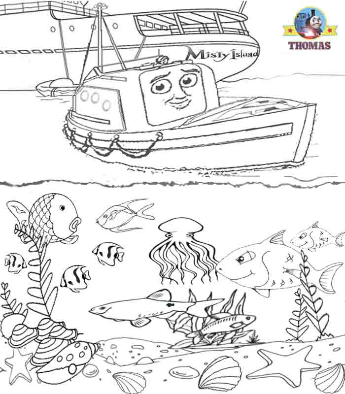 Drawn sea life tropical fish The the children book Thomas