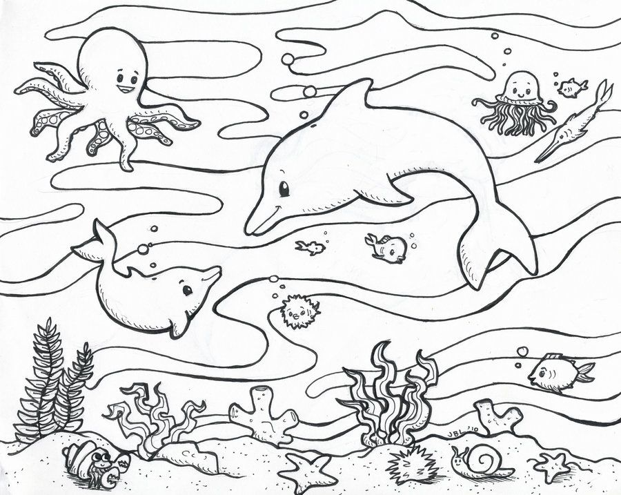 Drawn sea life tropical fish Sea Aquarium  by tropical