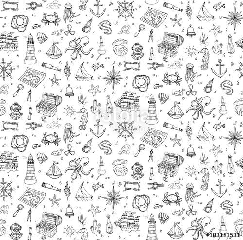 Drawn sea life under sea Seamless Vector doodle set background