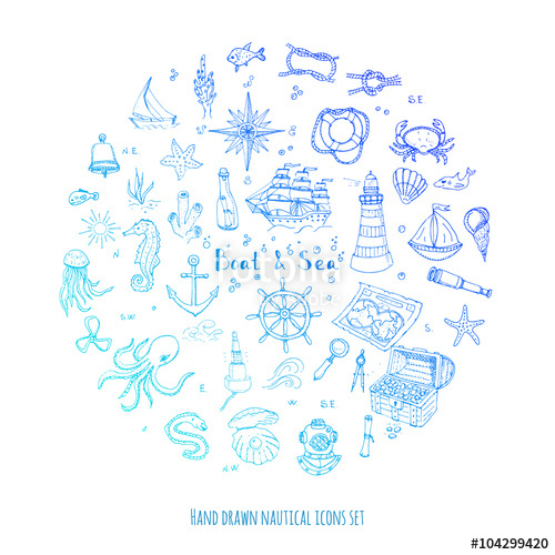 Drawn sea life under sea Hand  icons and boat