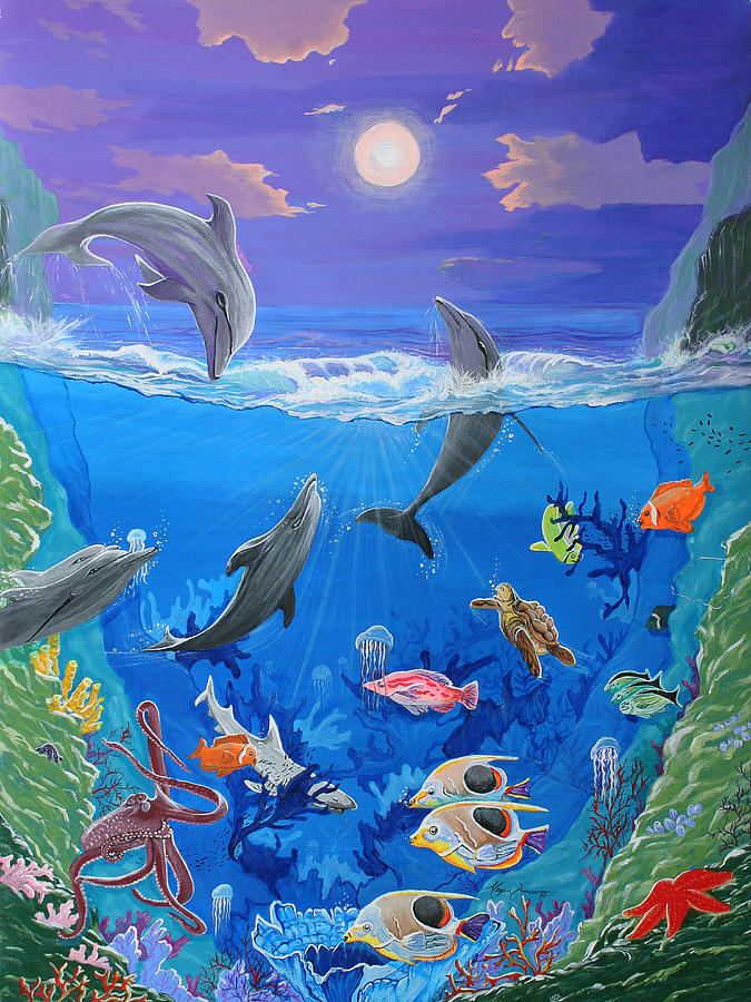 Drawn sea life underwater Tropical Tropical  Original Painting