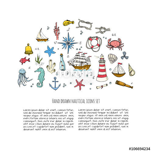 Drawn sea life vector Drawn Sea and icons Hand
