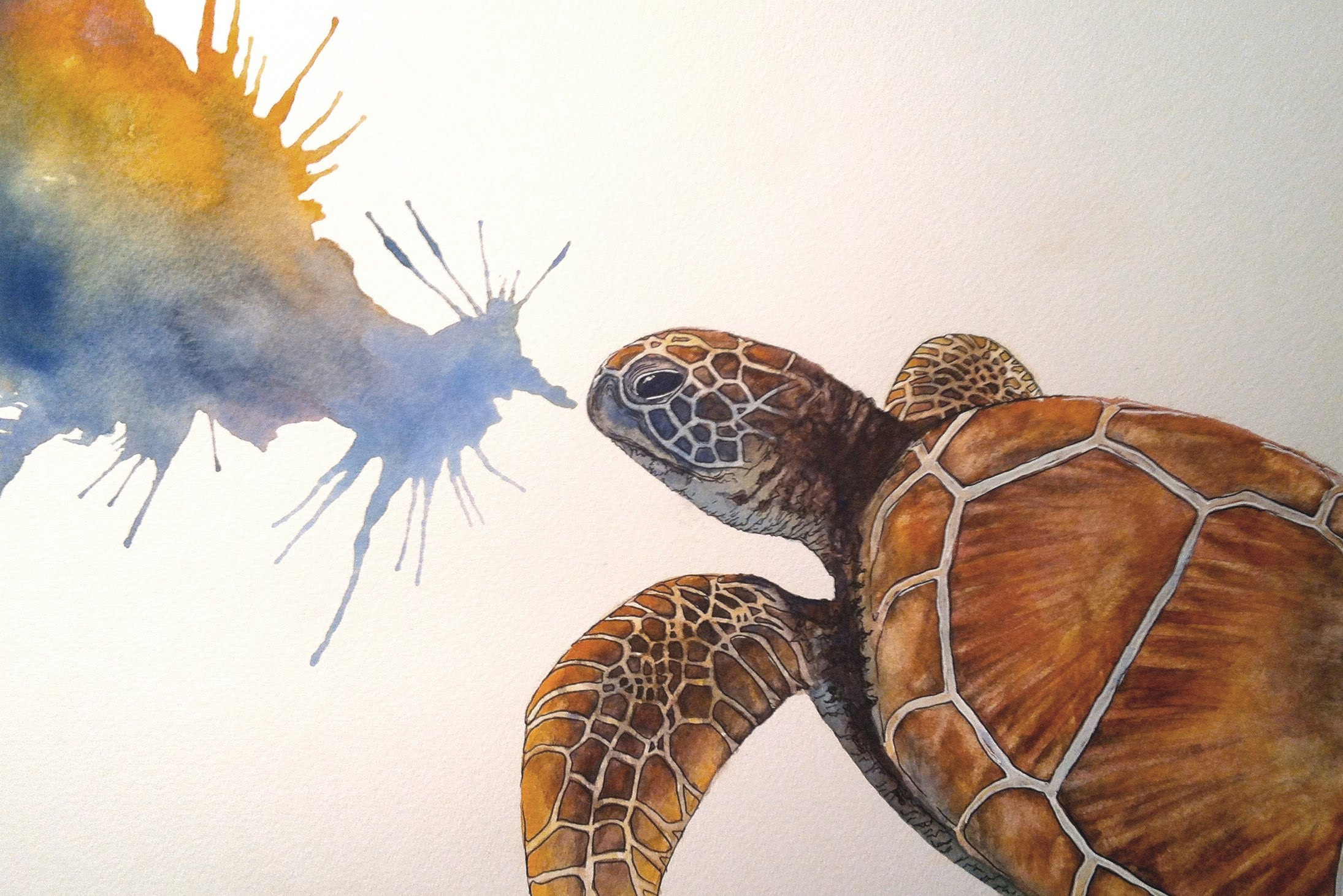 Drawn sea painted  painting Turtle YouTube watercolour