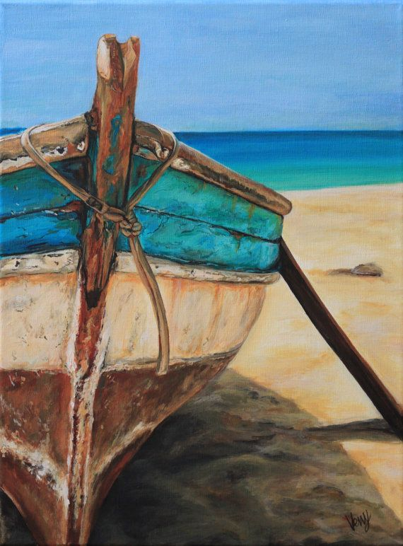 Drawn sea painted Art Old Boat Original by