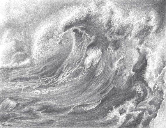 Drawn sea pencil drawing 5x11 Jason DrawnByDom by Pinterest