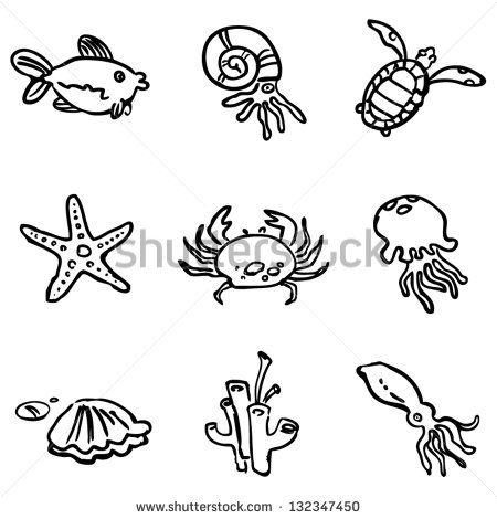 Drawn sea simple Vector Henna icon Designs outline