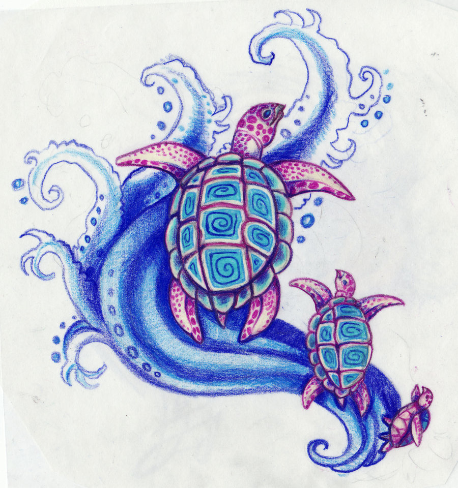 Drawn sea turtle abstract Turtles sea by Kittencaboodles on