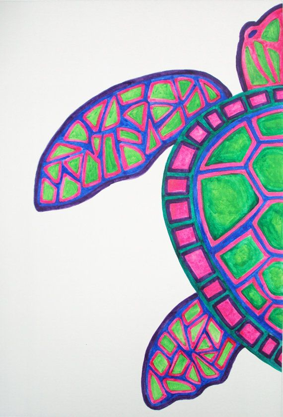 Drawn sea turtle abstract Ocean turtle Painting Beach painting