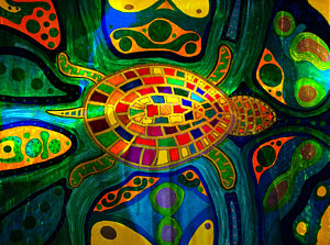 Drawn sea turtle abstract Turtle Sea America Art Abstract