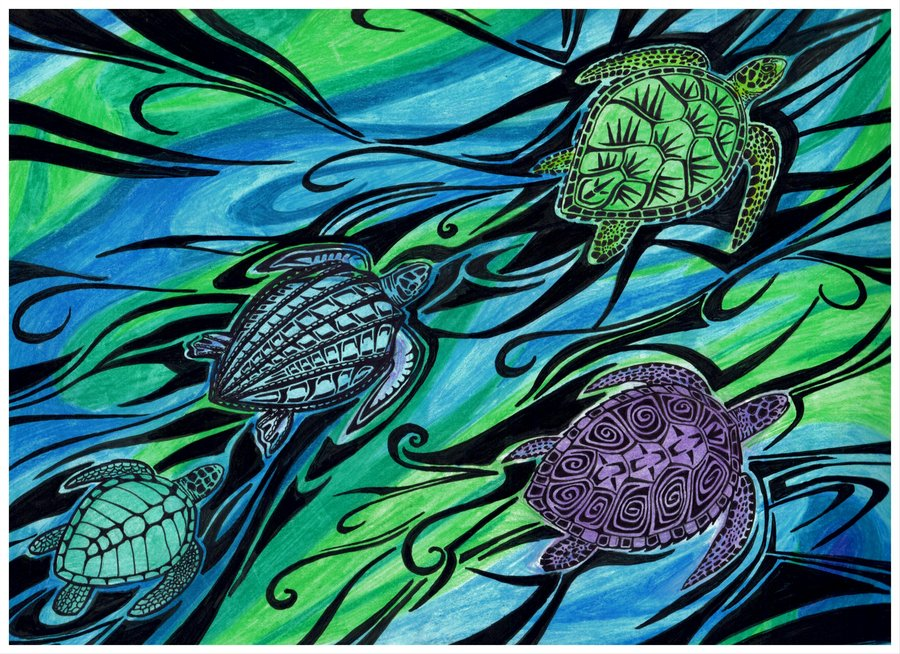 Drawn sea turtle abstract Deviantart raptarrin Sea raptarrin by