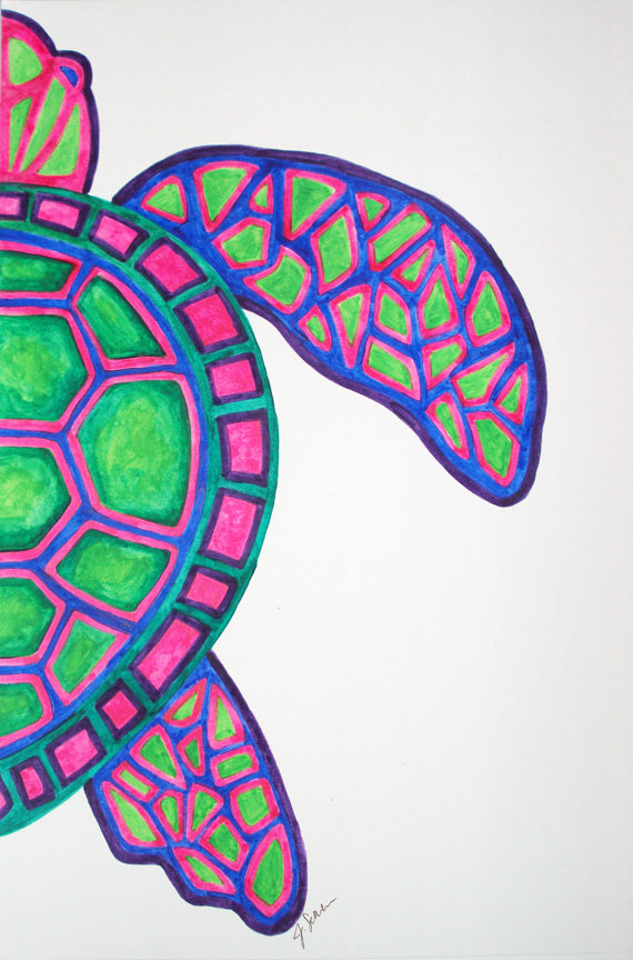 Drawn sea turtle underwate animal Painting Art Turtle Watercolor Turtle