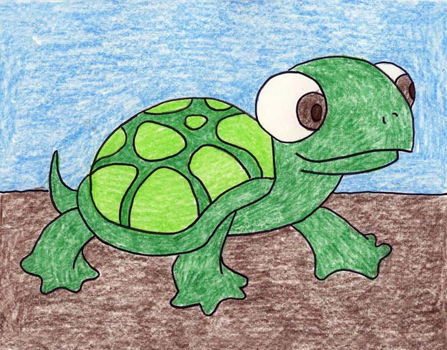 Drawn sea turtle big eye Art and Projects Turtle turtle
