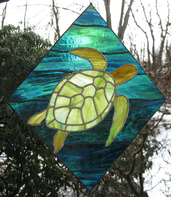 Drawn sea turtle fused glass  Sea mosaic panel stained