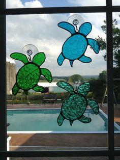 Drawn sea turtle fused glass Sun Beveled beveled chevron beveled