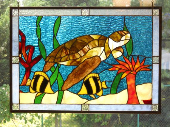 Drawn sea turtle fused glass Images Colorful Panel Glass Turtle