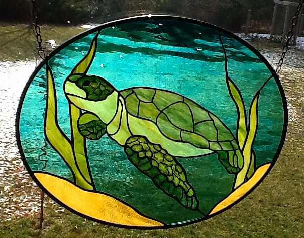 Drawn sea turtle fused glass How STAINED Abstract Blue 5