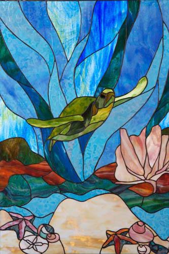 Drawn sea turtle fused glass Search Glass sea stained sea