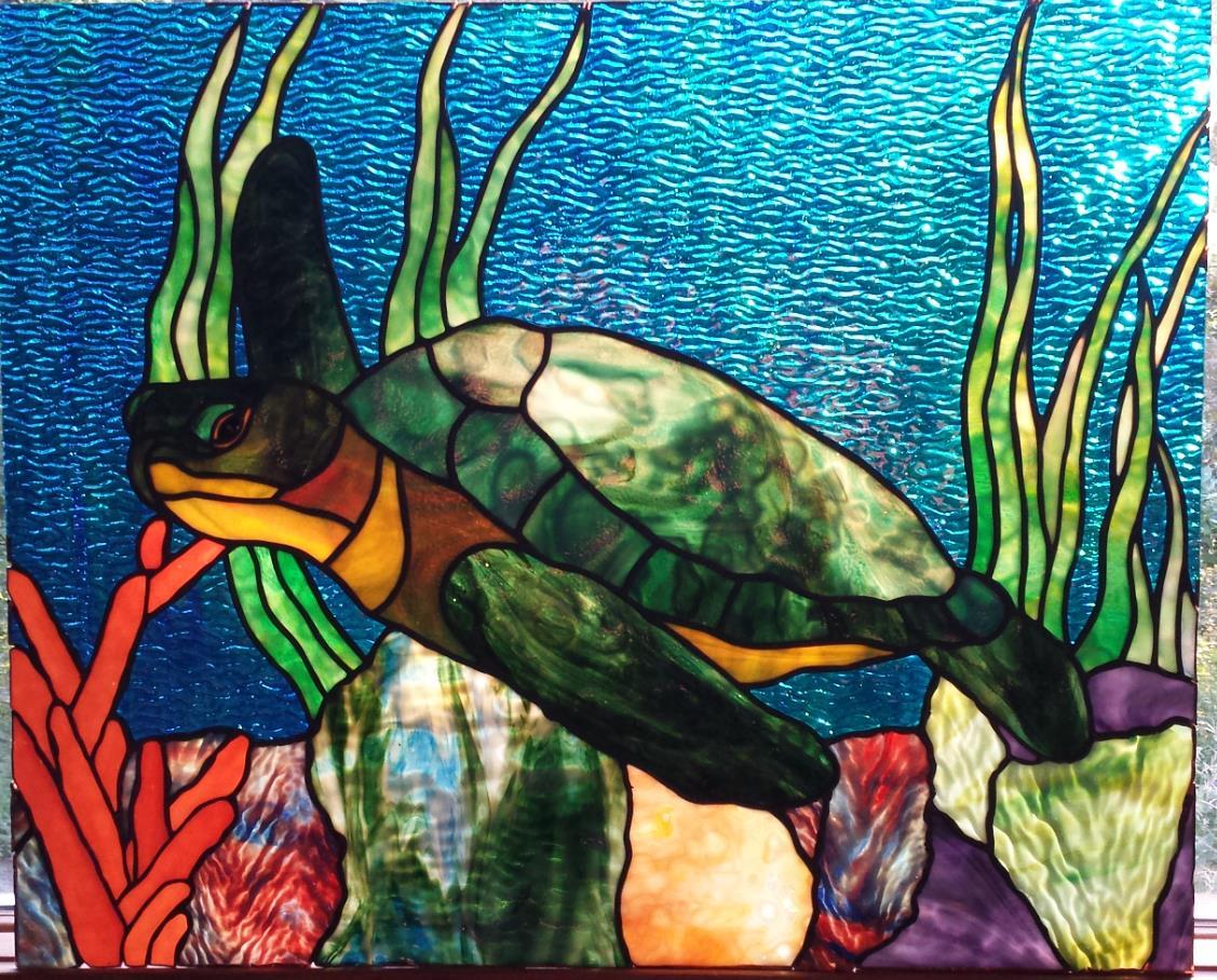 Drawn sea turtle fused glass Sea Glass Rockledge Gallery turtle