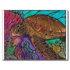 Drawn sea turtle fused glass Art Sea glass stained Art