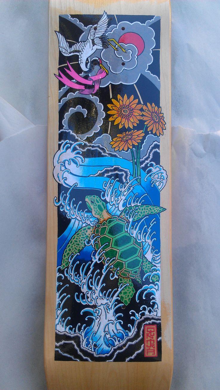 Drawn sea turtle japanese turtle Japanese paint BCA drawn sea